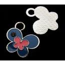 CP579-B - Charm argintiu inchis fluture email albastru si roz 24*23mm - STOC LIMITAT!!!