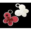 CP579-D - Charm argintiu inchis fluture email roz si rosu 24*23mm - STOC LIMITAT!!!