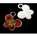 CP579-E - Charm argintiu inchis fluture email rosu si gaben 24*23mm - STOC LIMITAT!!!