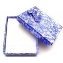 CCS-J-05 - Cutie cadou argintie cu flori albastre pentru set 9.3*7.2*2.9cm - STOC FOARTE LIMITAT!!!