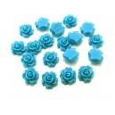 CRT7-01 - Cabochon rasina trandafir albastru usor verzui 7mm