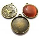 BC135 - Baza cabochon zodia berbec bronz antic 32*28mm/25mm