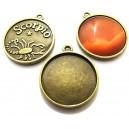 BC142 - Baza cabochon zodia scorpion bronz antic 32*28mm/25mm