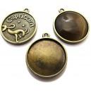 BC144 - Baza cabochon zodia capricorn bronz antic 32*28mm/25mm