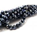 MFS632 - Cristale electroplacate negru hematit sfere fatetate 6mm
