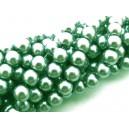 (10 buc.) Perle sticla verde pal cu tenta gri sfere 8mm