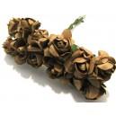 TRA12 - (12 buc.) Trandafiri artificiali maro 2.5cm/8cm