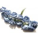 TRA14 - (12 buc.) Trandafiri artificiali albastru cer 2.5cm/8cm