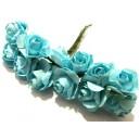 TRA15-A - (12 buc.) Trandafiri artificiali bleu 2.5cm/8cm