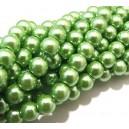 PS8mm-58 - (10 buc.) Perle sticla verde mar sfere 8mm