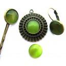 Cabochon sticla cat eye verde crud 12mm