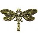CP01 - Pandantiv libelula bronz antic cu strasuri 73*42mm