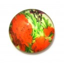 DISPONIBIL 1 BUCATA - CSP14mm-A-87 - Cabochon sticla print flori 14mm - STOC FOARTE LIMITAT!!!