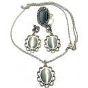 SET02 - Set bijuterii argintiu antic cu cat eye gri
