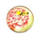 DISPONIBIL 5 BUCATI - CSP14mm-A-106 - Cabochon sticla print flori 14mm - STOC FOARTE LIMITAT!!!