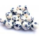 Margele portelan flori bleumarin sfere 16mm