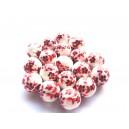 Margele portelan flori rosii sfere 12mm