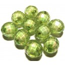 ACR20-09A - Margele acril fatetate sfere verzi efect AB 16mm