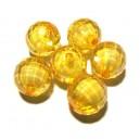 ACR20-09B - Margele acril fatetate sfere portocalii efect AB 16mm