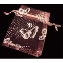 SOF9*7cm-01 - Saculet organza roz cu fluturi argintii 9*7cm