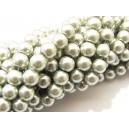 PS4mm-52 - (10 buc.) Perle sticla alb argintiu sfere 4mm