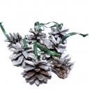DISPONIBIL 2 SETURI - (7 bucati) - Conuri de brad argintii 4-5cm