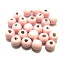 (10 buc.) Margele lemn roz pal 10*8.5mm
