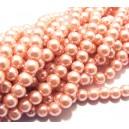 PS8mm-62 - (10 buc.) Perle sticla roz piersica sfere 8mm