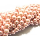 PS8mm-63 - (10 buc.) Perle sticla roz caisa sfere 8mm