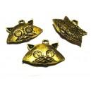 DISPONIBIL 3 BUCATI - CP54A - Charm cap pisica auriu antic 23*18mm