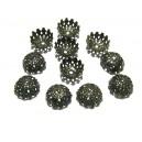 DISPONIBIL 1 SET CU 11 BUCATI - CA21A - Capacele filigranate floare bronz antic inchis 8*4mm