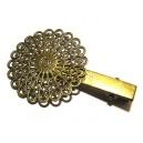 DISPONIBIL 1 BUCATA - AGR24 - Agrafa clips floare bronz antic 61*38mm