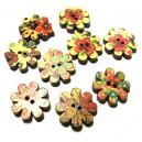 (9 buc.) Nasturi lemn pictati floare 20mm