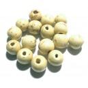 Margele lemn alb galbui patat 12*10.5mm