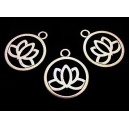 CP538 - Charm floare de lotus argintiu antic 24*20mm
