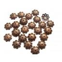 (10 buc) Capacele metalice filigranate cupru 10mm