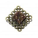 BIJ20A - Brosa bronz antic cu druzy multicolor efect AB 25*25mm/12*12mm