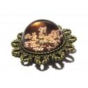 DISPONIBIL 1 BUCATA - BIJ23B - Brosa bronz antic cu flori presate 39mm