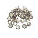CA45A - (10 buc.) Capacele floare argintiu inchis 6mm