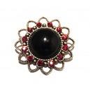 BIJ25 - Brosa floare argintiu antic cu negru si strasuri rosii