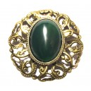 UNICAT - BIJ37 - Brosa bronz antic cu agat verde