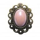 BIJ38 - Brosa floare bronz antic cu roz prafuit perlat
