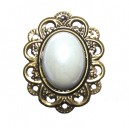 BIJ39 - Brosa floare bronz antic cu alb perlat