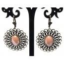 BIJ43 - Cercei bronz antic cu roz prafuit perlat