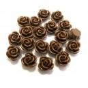 CRT11-01 - Cabochon rasina trandafir maro inchis 11mm