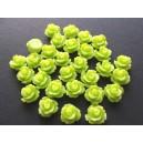 Cabochon rasina trandafir verde crud 10mm