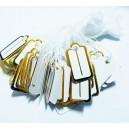 E-EP06 - (300 buc.) Etichete pret albe cu auriu cu snur bumbac 23*13mm