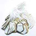 E-EP07 - (300 buc.) Etichete pret albe cu auriu cu snur bumbac 25*18mm