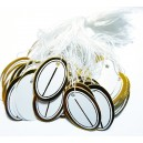 E-EP08 - (300 buc.) Etichete pret albe cu auriu cu snur bumbac 26*19mm