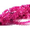 PSE30 - (10 buc.) Striped agate nuante roz magenta si fucsia sfere 4mm